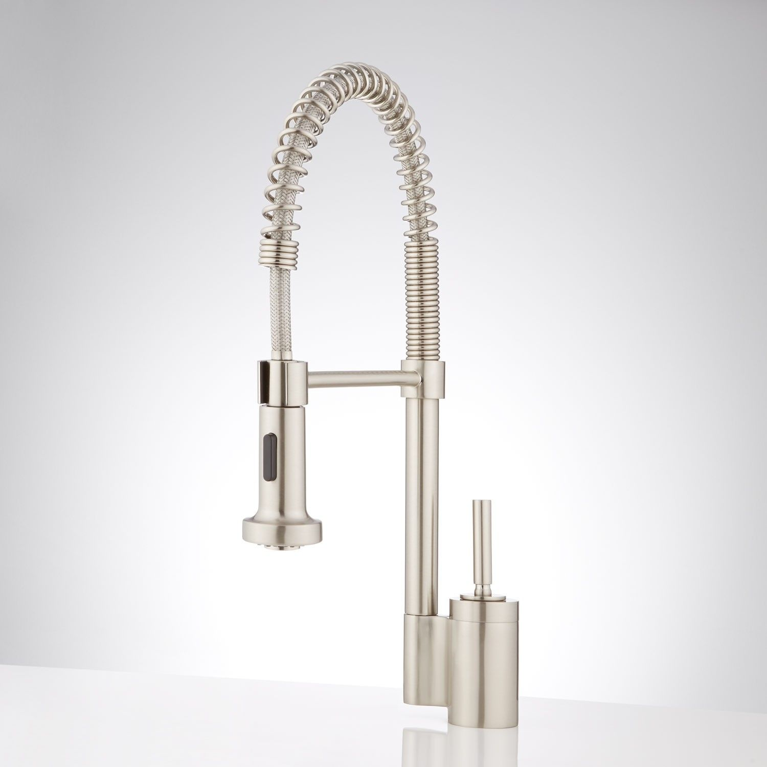 Trevino single hole kitchen faucet with pull down spring spout