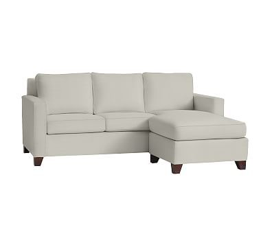 Cameron Square Arm Upholstered Sofa with Reversible Chaise Sectional, Polyester Wrapped Cushions, Basketweave Slub Oatmeal
