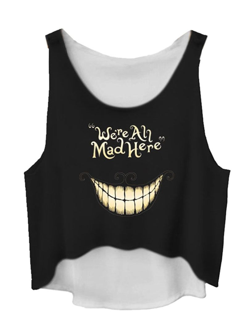 Black Mouth And Letters Print Hi-lo Ruched Cami Top