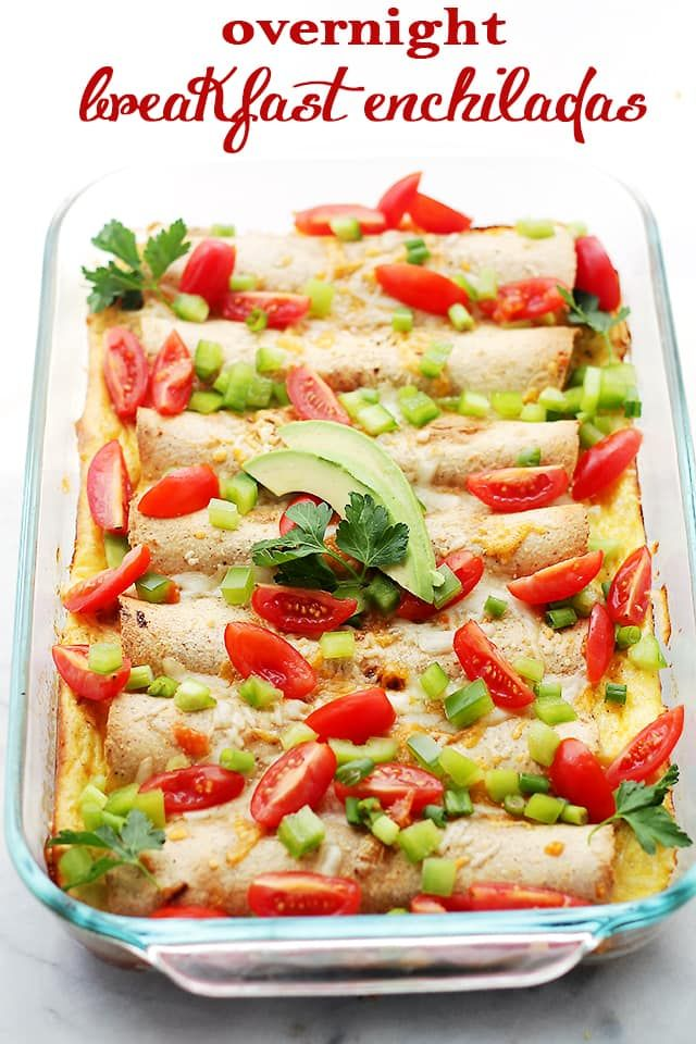 Overnight Breakfast Enchiladas - Flour Tortillas filled with turkey sausage, green onions, peppers and cheese, covered in a creamy egg batter and baked. A delicious breakfast casserole that can be prepped the night before and baked the next day!