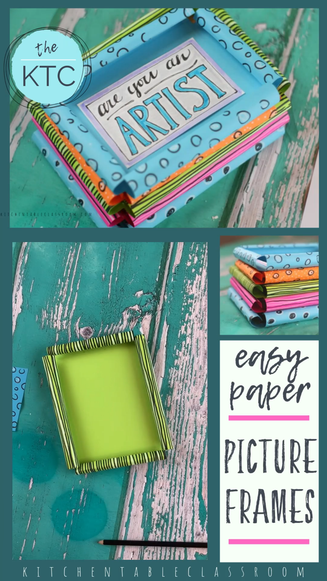 These easy paper picture frames take a piece of paper or card stock and turn it into a picture frame in minute.  Frame a special picture or drawing and you've got a sweet keepsake gift! #pictureframe #homemadegift #papercrafts #craftsforkids