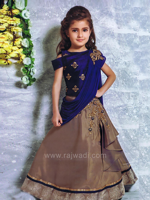 cf374c1dbc23b Satin Silk Thread Work Choli Suit | latest | Kids party wear dresses ...