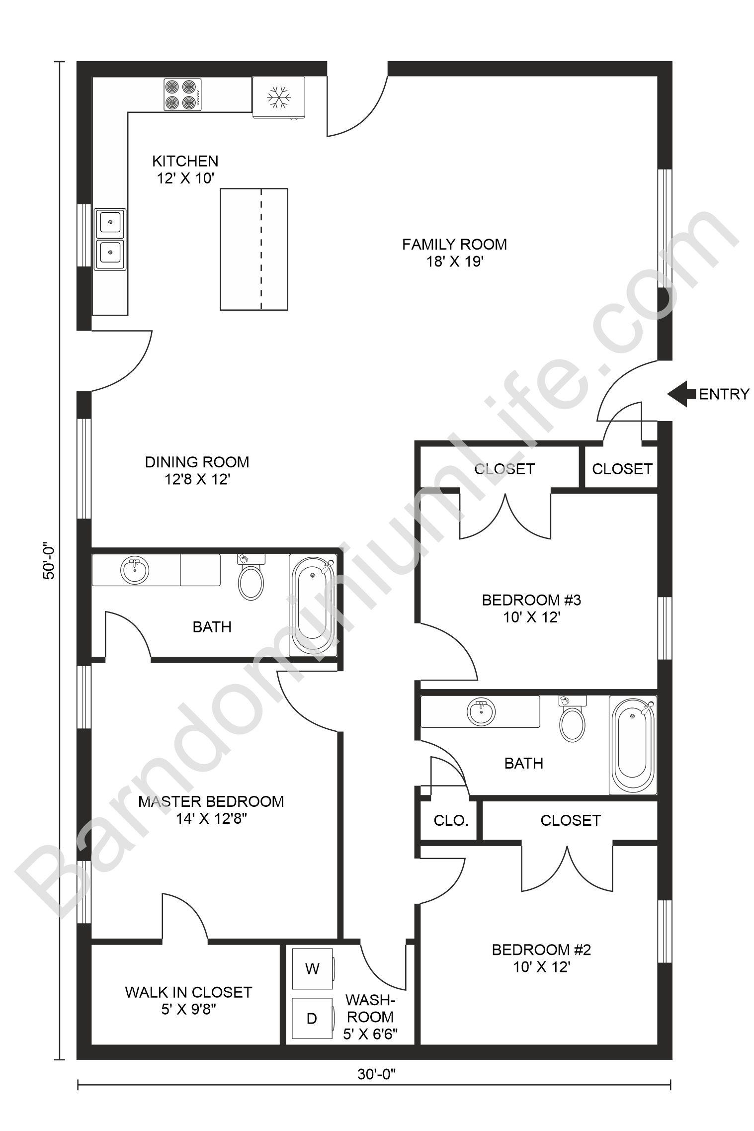 Stunning 3 Bedroom Barndominium Floor Plans In 2020 Barndominium Floor Plans Simple Floor Plans Cabin Floor Plans