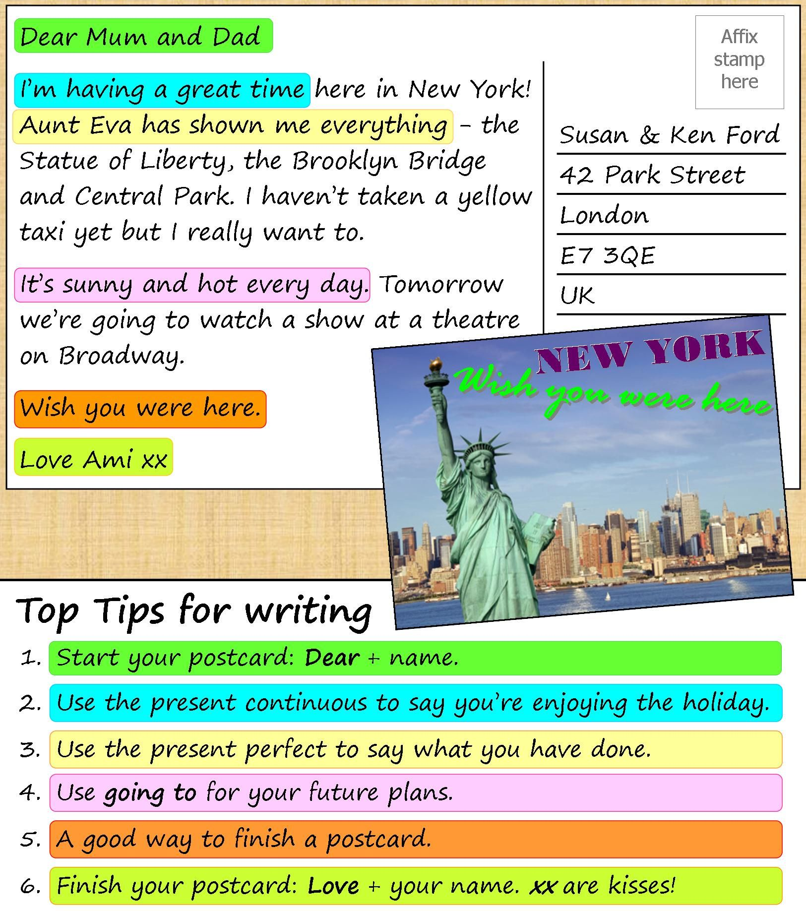 a look at the postcard from new york and do the exercises to  a2 look at the postcard from new york and do the exercises to improve your