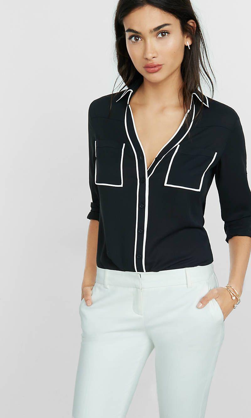 c76f11d34dd5 Slim Fit Black Contrast Piping Portofino Shirt
