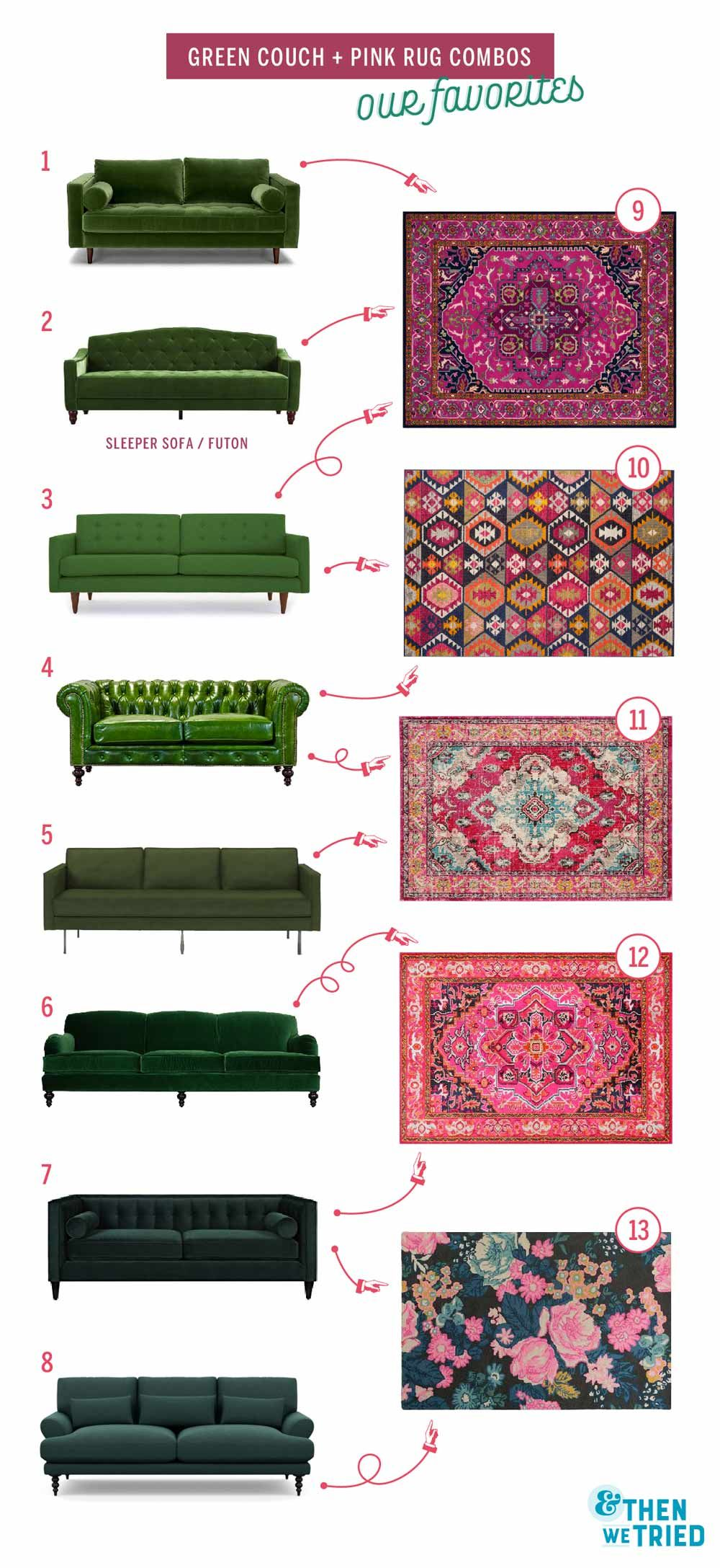 Colorful Living Room Refresh Green Couch And Pink Rug Future Home