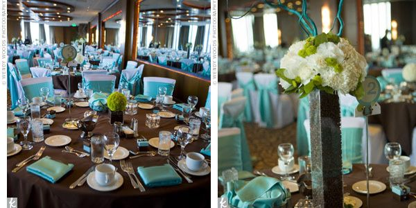 Brown And Teal Wedding Ideas: Chocolate Brown & Blue Reception Decor
