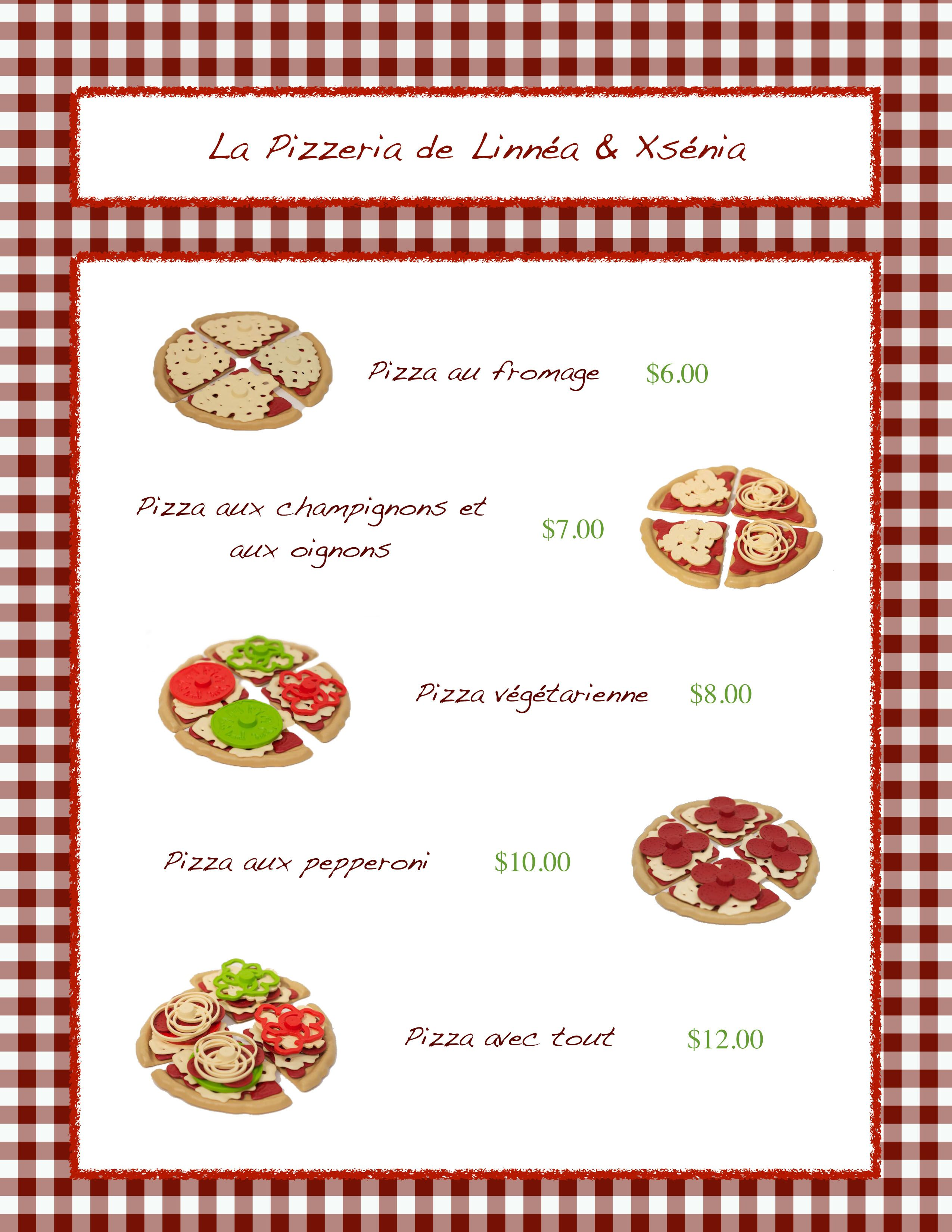 menu de pizzeria en fran ais the fle classroom pinterest fle table cuisine et mat riel. Black Bedroom Furniture Sets. Home Design Ideas