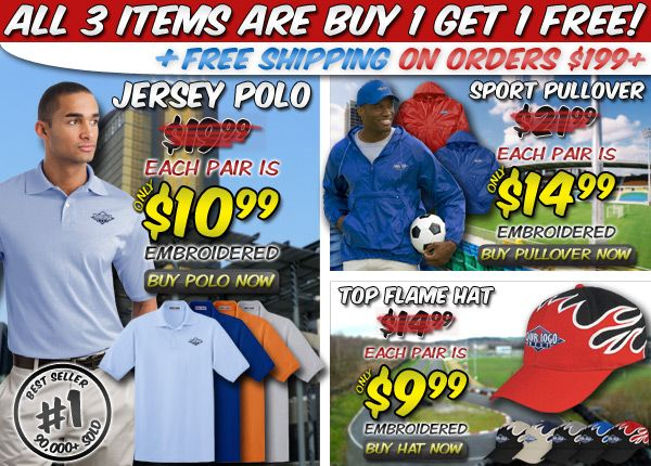 Buy 1 Get 1 Free | You Pick | Jersey Polo | Sport Pullover | Flame Hat #sale #embroidery