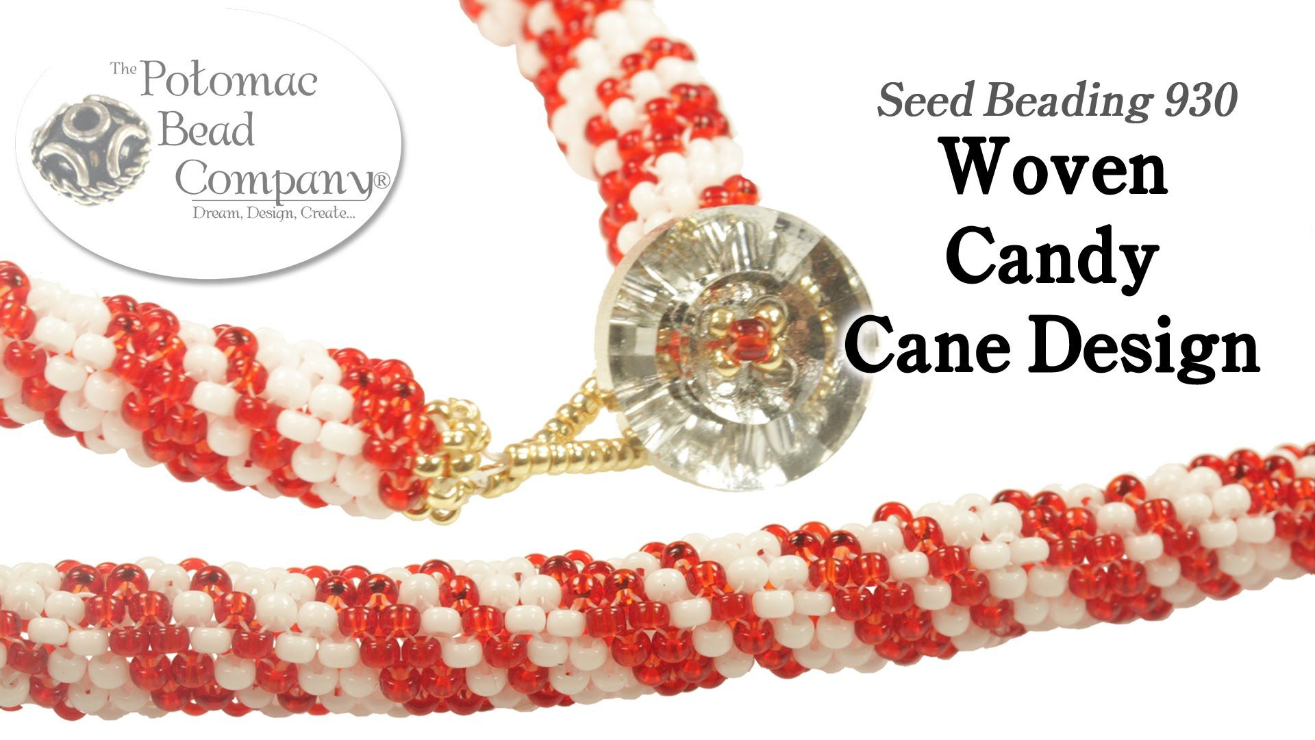 Woven candy cane bracelet or necklace design korálkování