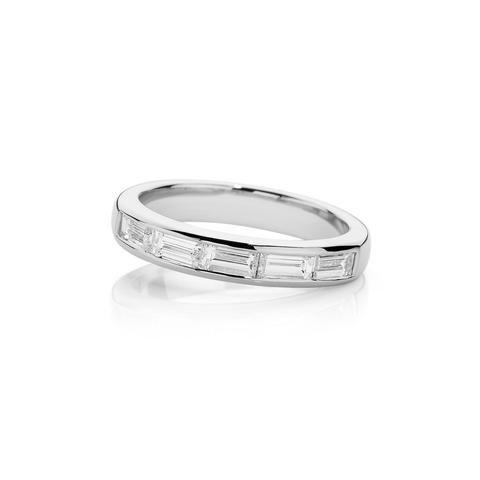 Amazing ct White Gold handmade baguette cut Diamond wedding ring with the diamonds channel set half way