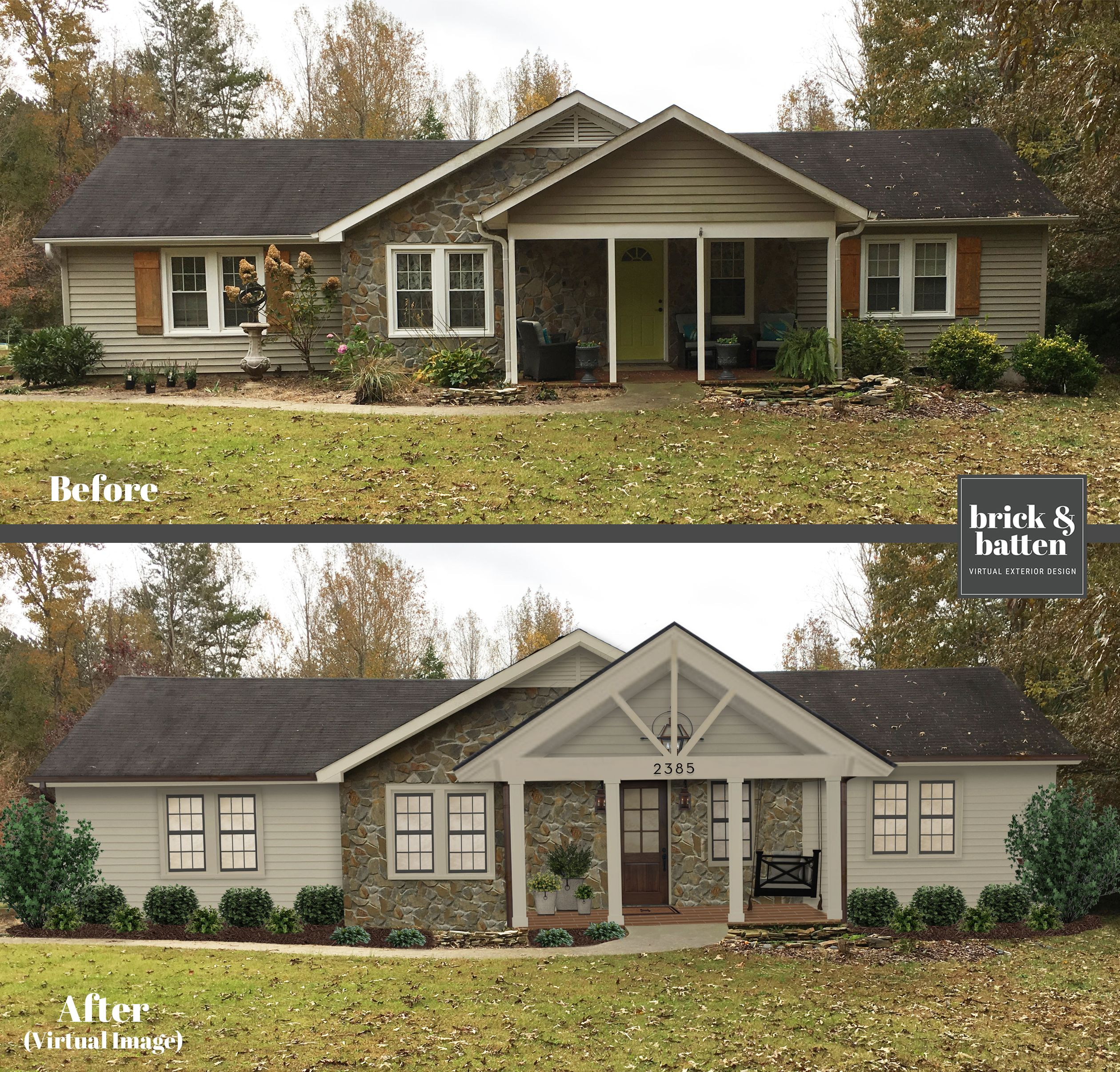 This 1940s Ranch Got A Brickandbatten Makeover We Removed The Shutters As They Weren T Arc Home Exterior Makeover House Paint Exterior House Plans Farmhouse