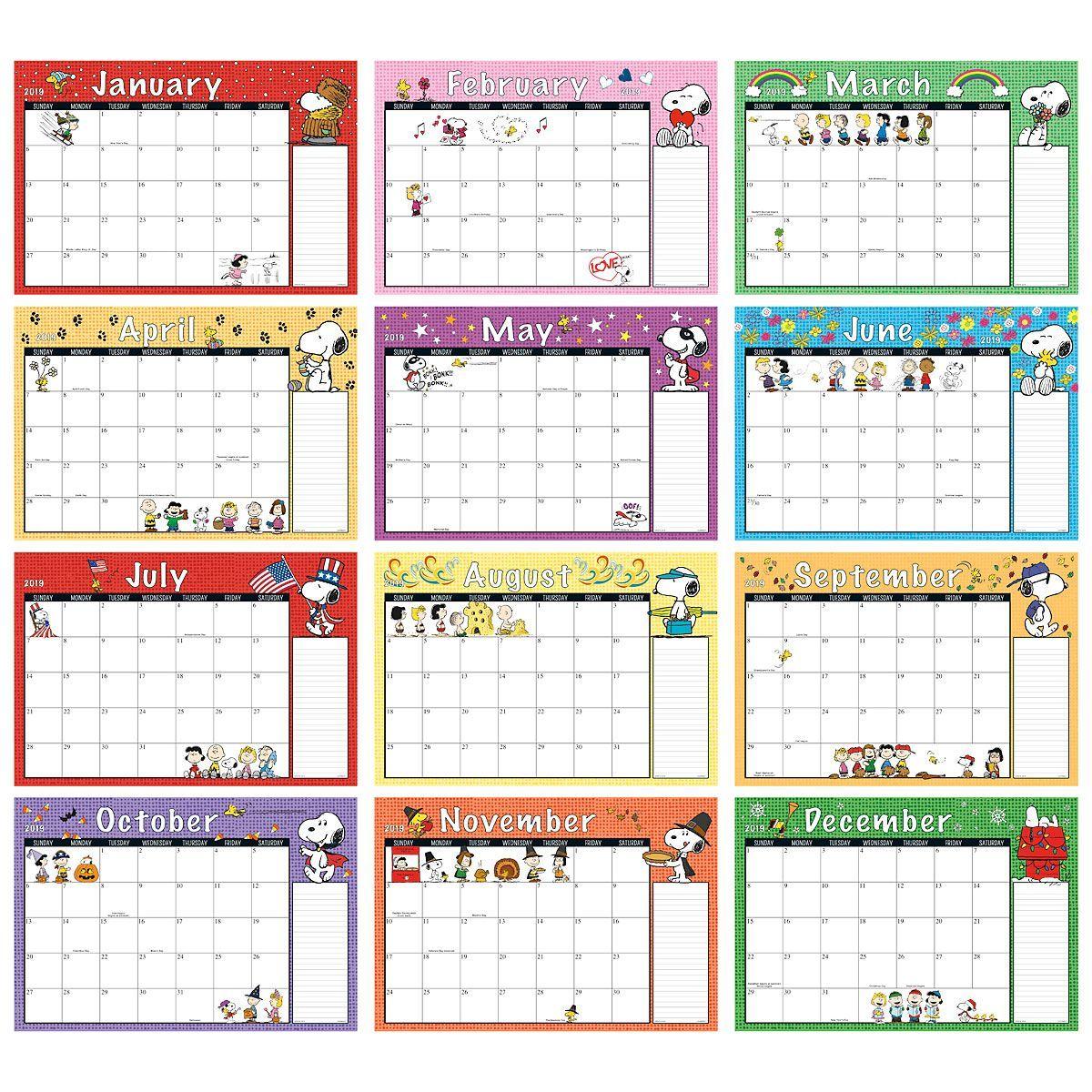 2019 2020 Peanuts Calendar Pad Current Catalog Printable