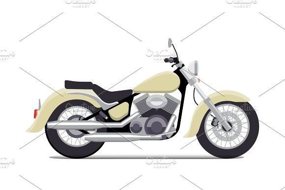 Flat Vintage Motorcycle Vector Illustration Classic Chopper Isolated On White Background Vintage Motorcycle Vector Illustration Vintage