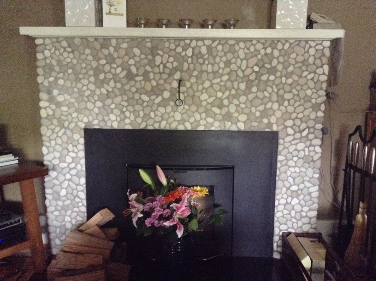 Your home improvements refference mosaic tile fireplace surround - Java Tan And White Pebble Tile