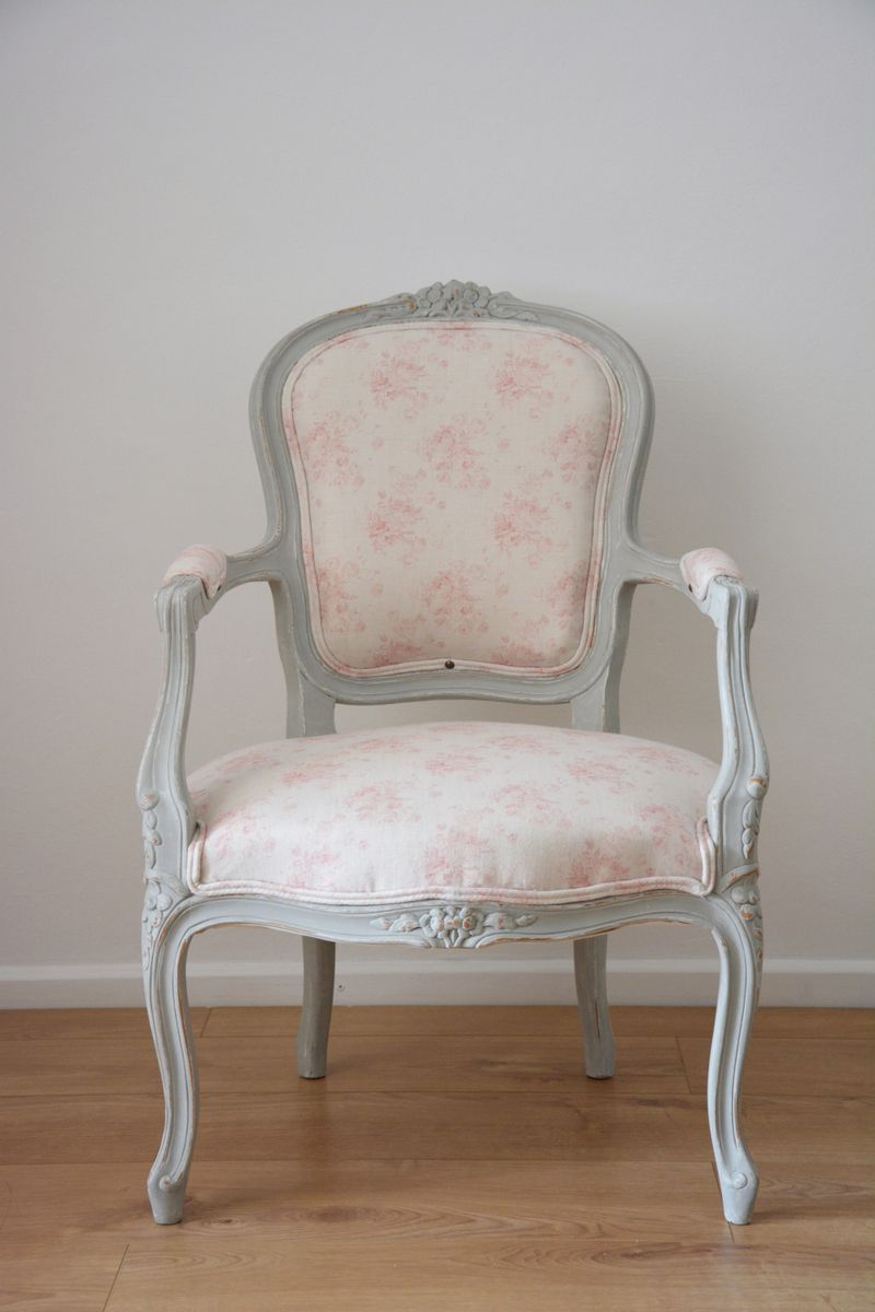 Bespoke Louis Style Armchair In Your Choice Of Fabric And Paint   Shown In  Peony And