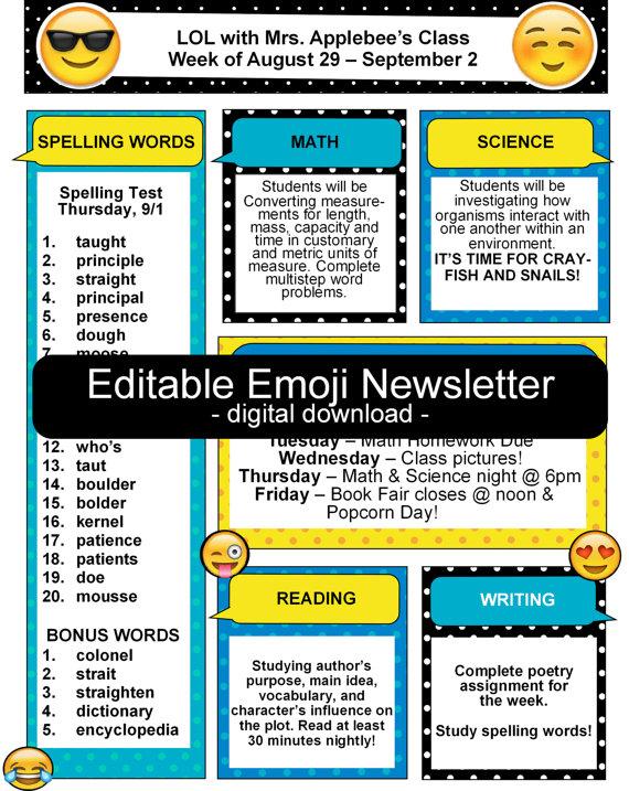 emoji teacher classroom newsletter editable art inspiration