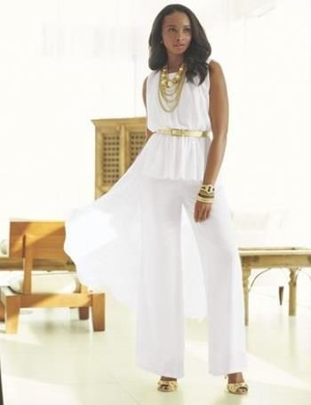 f69c77b41ed ASHRO Bianca Pant Set Suit Plus Size 2X White Wedding Summer Spring Beach  Cruise  Ashro  PantSuit