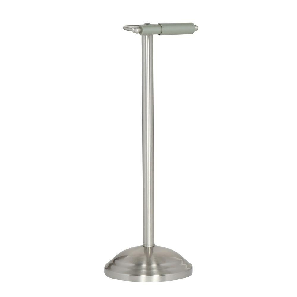 Delta Greenwich Free Standing Toilet Paper Holder In Brushed Nickel 138293 The Home Depot In 2020 Free Standing Toilet Paper Holder Paper Holder Toilet Paper Holder