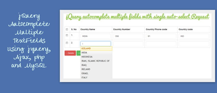 jquery autocomplete mutiple fields using jquery ajax php and