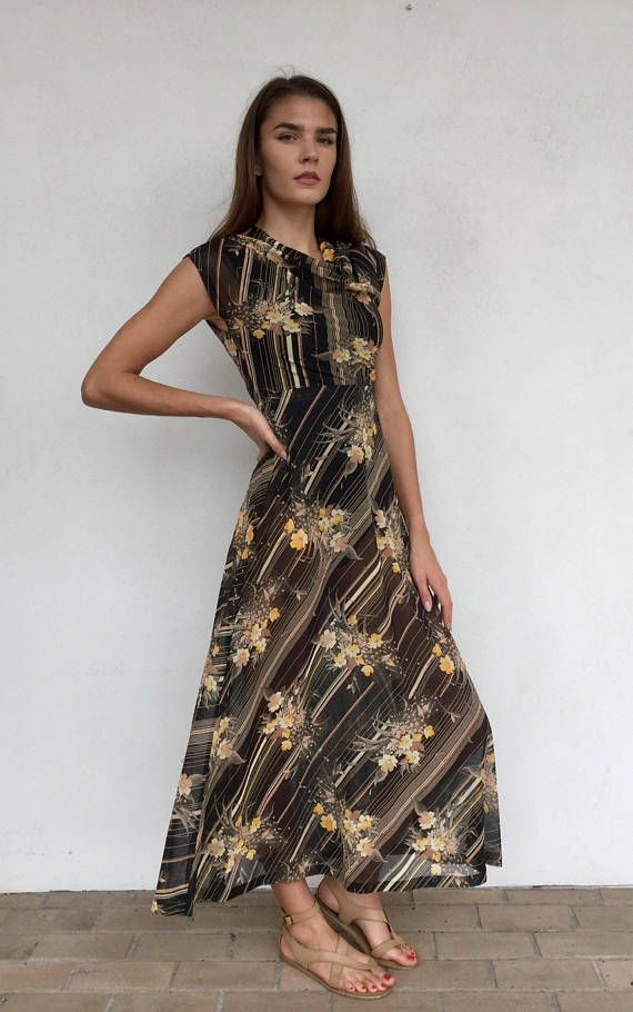 e15d64a6c1 Beautiful 70s sheer floral maxi dress with cowl neck