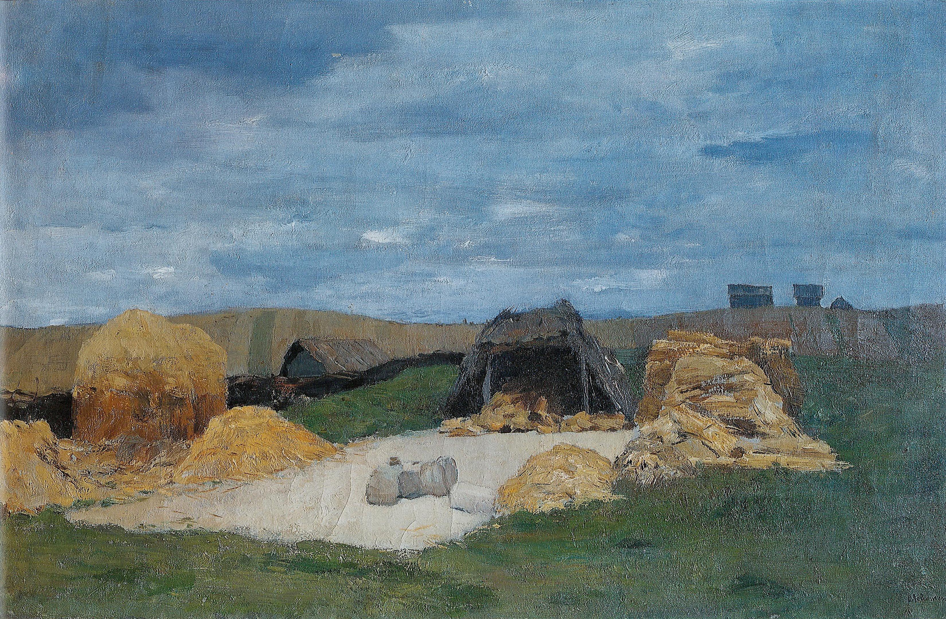 Ток. Гумно . 1898-1899. Левитан Исаак Ильич   Пейзажи, Гумно ...