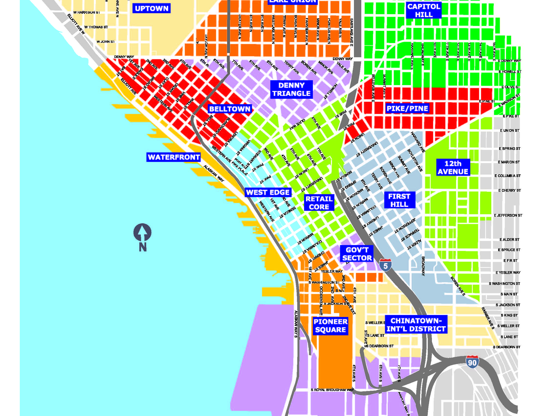 Pin by franceseattle on Maps, Charts, & Graphs | Map, Seattle ... Downtown Seattle Map on