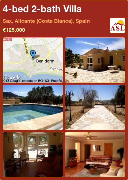 4-bed 2-bath Villa in Sax, Alicante (Costa Blanca), Spain ►€125,000 #PropertyForSaleInSpain