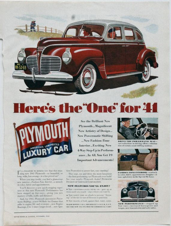 Items similar to Vintage Ad Plymouth Car Automobile 1940 Full Page Advertisement on Etsy