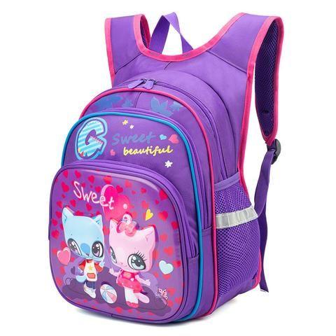 845289af0354 SUN EIGHT 2018 NEW Girl  boy School Backpack Children School Bags Rucksuck Orthopedic  Back Bag For Kids Sweet Cat Girl