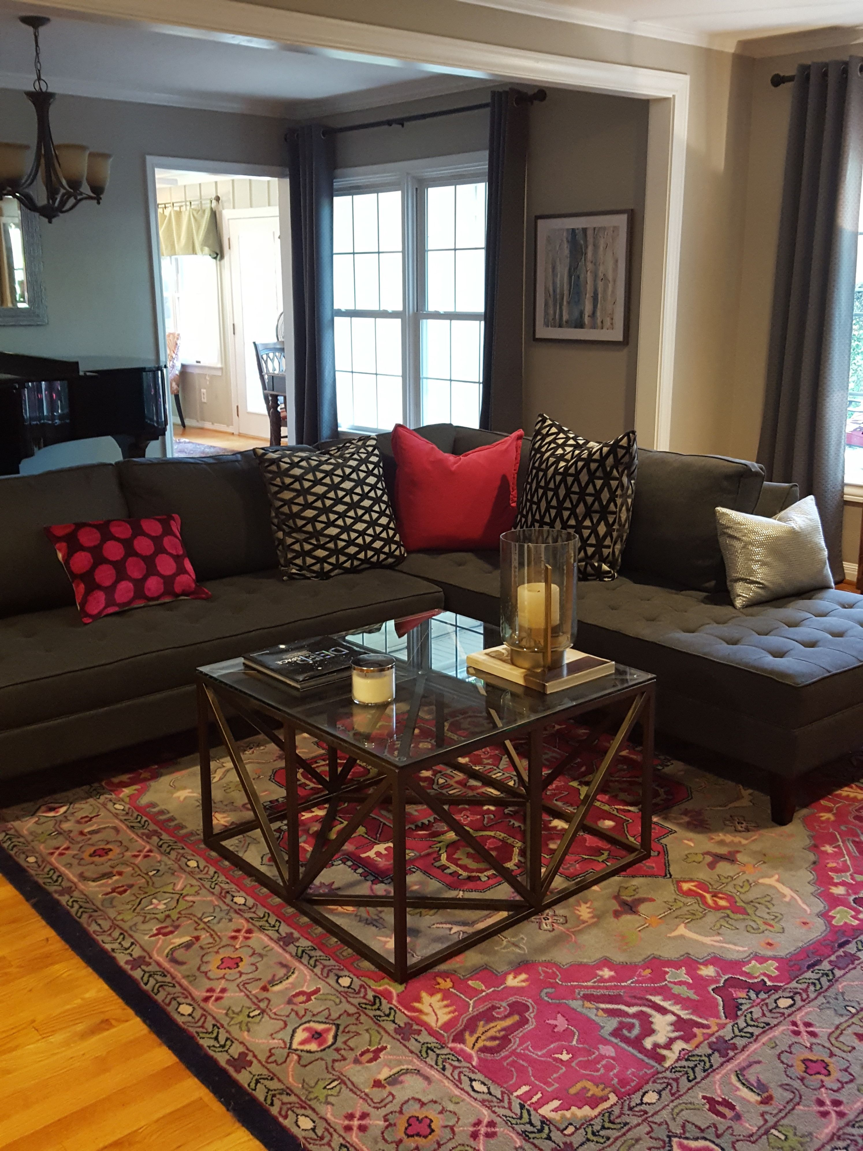 Client Living Room Grays And Fuchsia Dark Pink Z