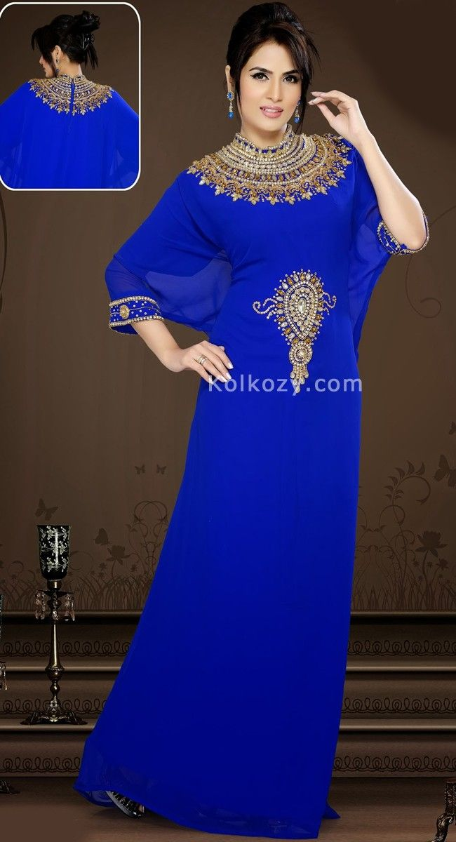 Unique Styling And Unusual Material Be The Center Of Attraction With This mesmerizing Blue Color Faux Georgette #Designer #Kaftan.