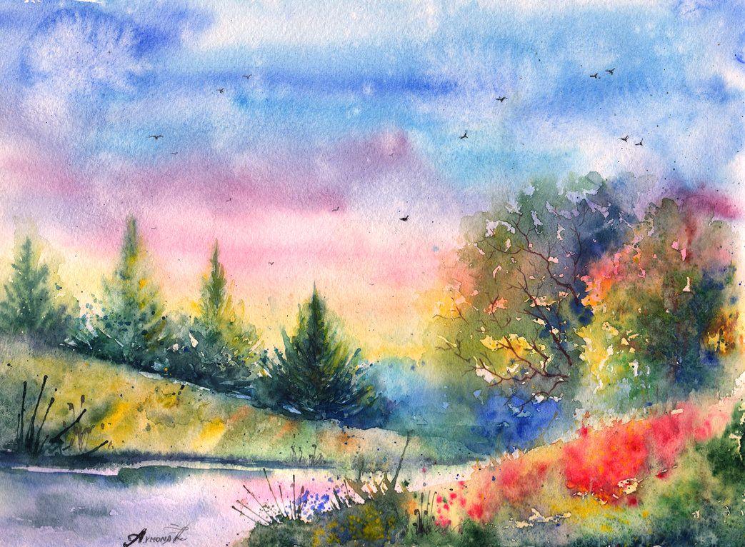 Картинки нарисованные акварелью пейзажи, открытки