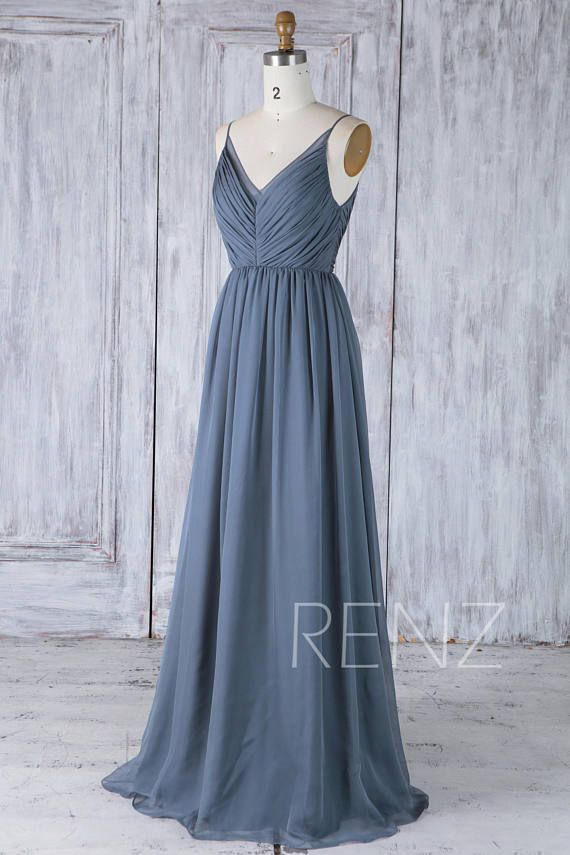 bd6960a71e9 Bridesmaid Dress Dark Steel Blue Backless Simple Wedding Dress ...