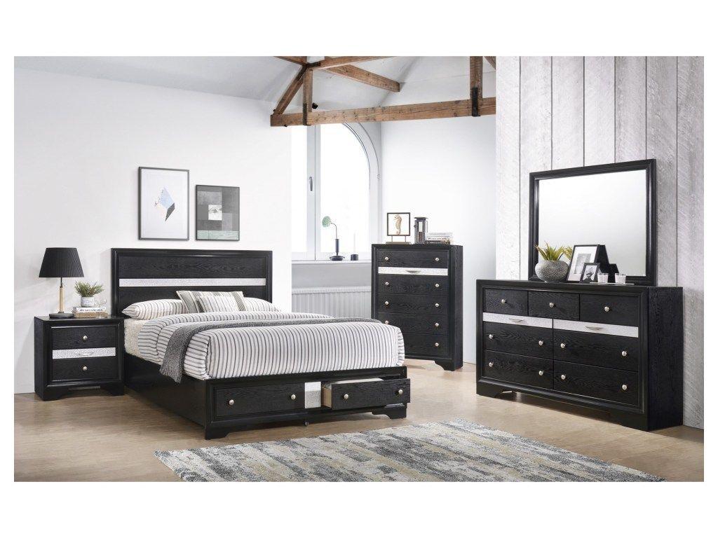 Crown Mark Regata Collection Black Bedroom Set  King size bedroom