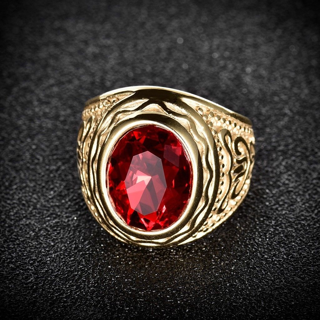 Stainless Steel Solitaire Large Oval Red Ruby Men's