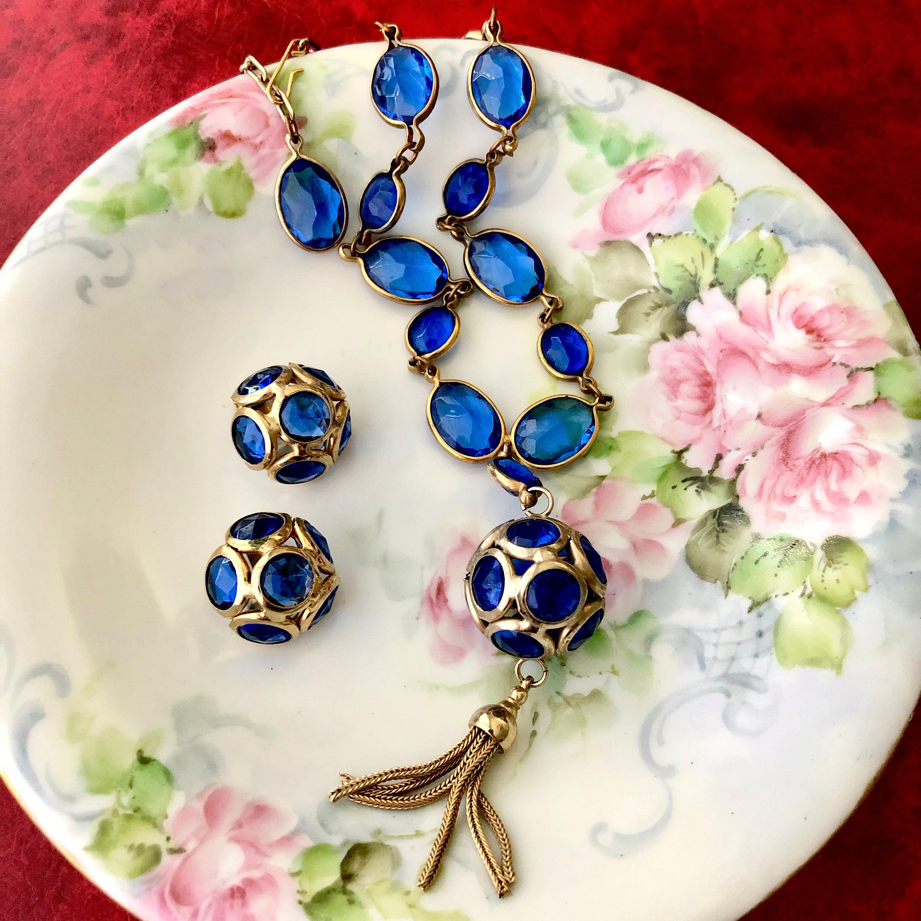 1931b1aaa Vintage Cobalt Blue Faceted Glass Pendant Necklace Clip On Earrings Bezel Set  Necklace Tasseled Round Orb Pendant Statement Jewelry Set