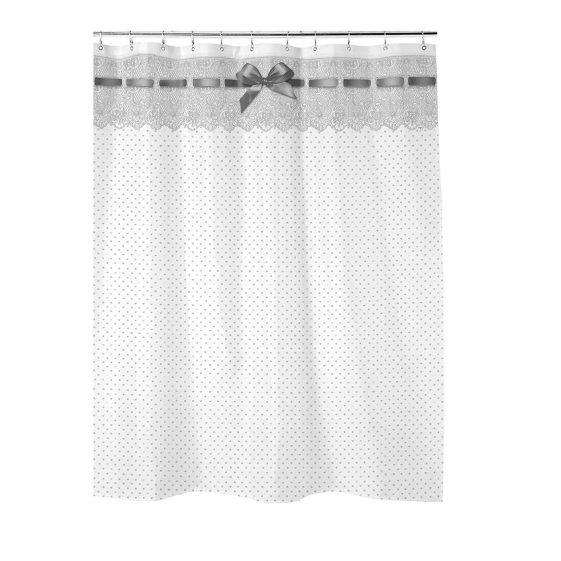 Awesome Shabby Chic Bathroom Shower Curtain Decor With Polka Dot Pattern As  Well As Most Popular