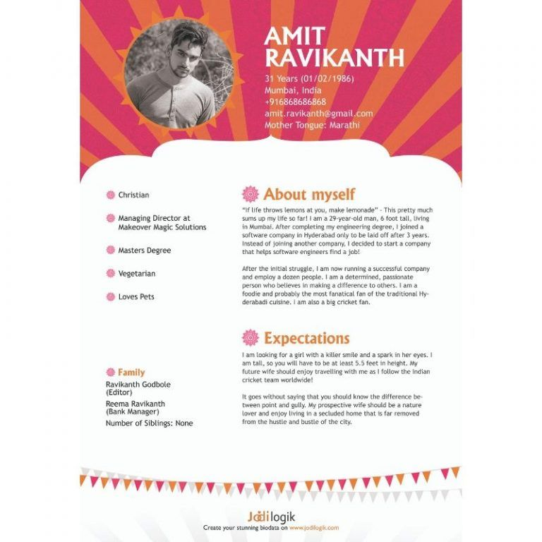 Biodata Format For Marriage 15 Templates 7 Samples Biodata Format Bio Data For Marriage Marriage Biodata Format