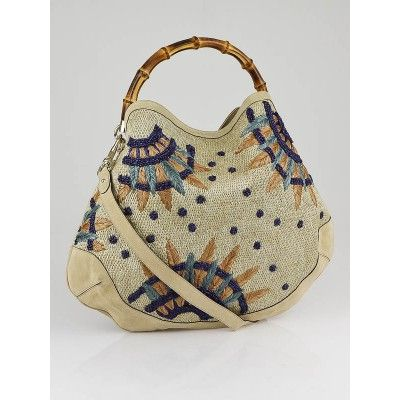 db6a932d6ebd Authentic Gucci Beige Raffia Flowers Peggy Bamboo Top Handle Hobo Bag at Yoogi s  Closet. Condition is Gently used