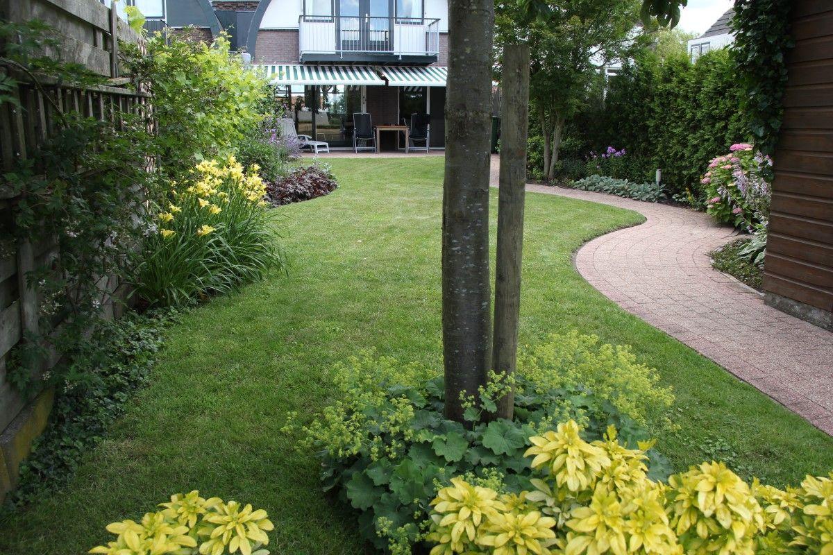 Smalle tuin met golvende borders vicas tuinontwerpen www for Tuinontwerpen achtertuin