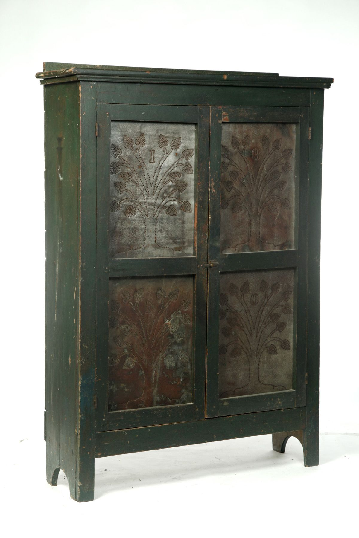 American Punched Tin Pie Safe Mid19th Century Poplar Large Size With Two Doors Replaced Panels And Old Green Paint Have Tree Designs