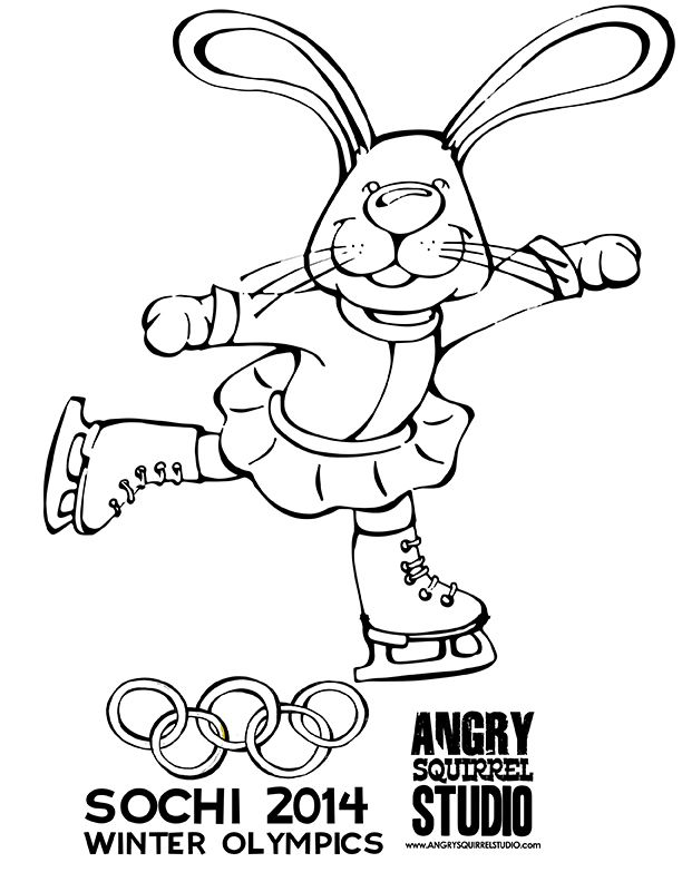 The Hare loves to skate. FREE COLORING PAGE #Olympics http