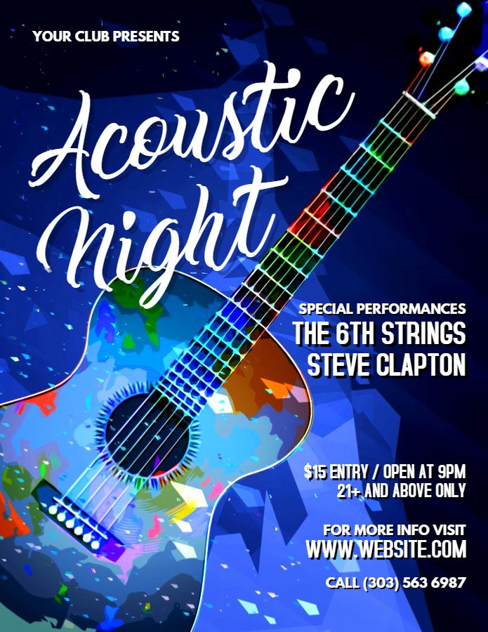 Acoustic Night Music Festival Poster Flyer Graphic Design Social Media Template Live Music Poster Music Festival Poster Music Concert Posters