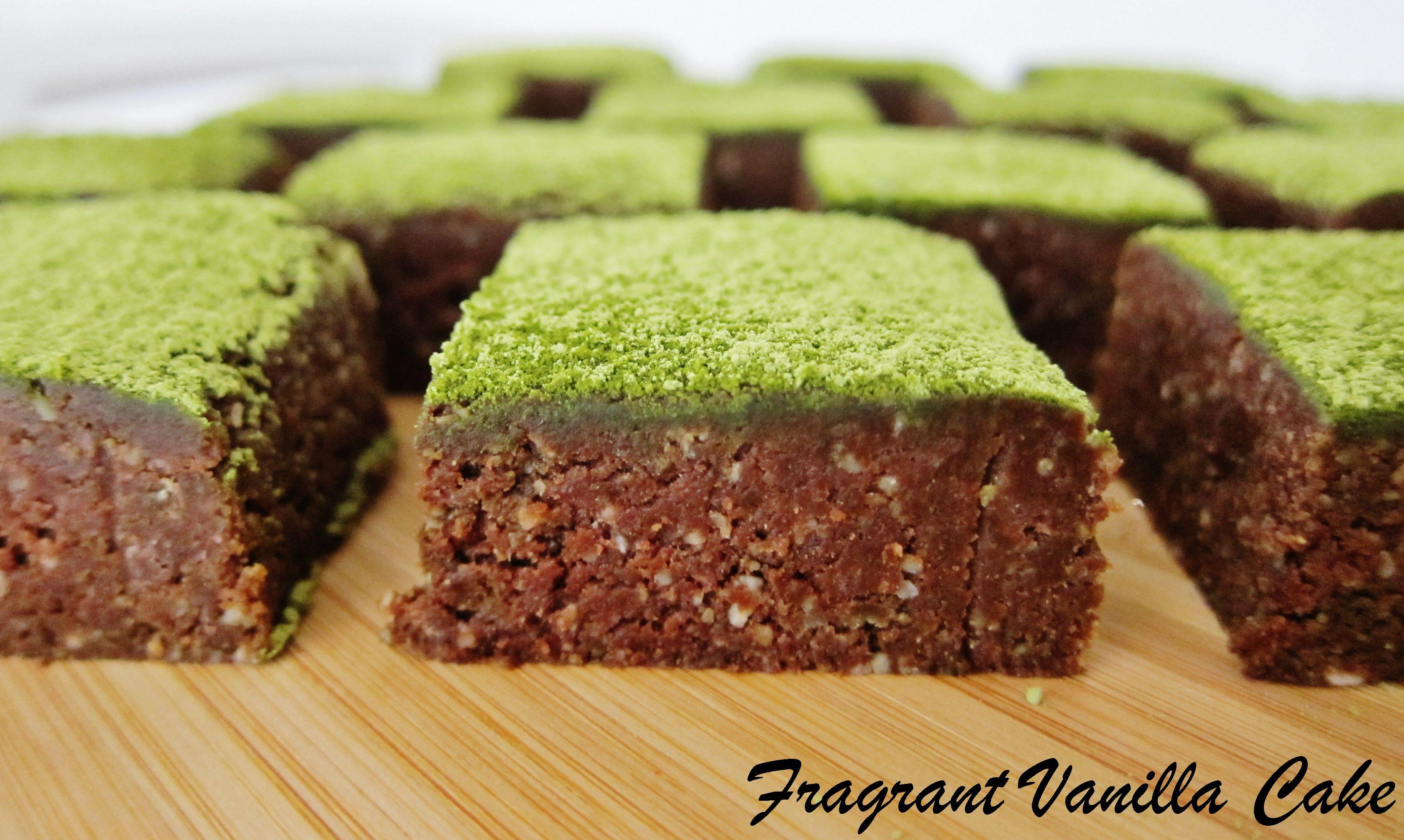 Raw Fudgy Matcha Mint Brownies