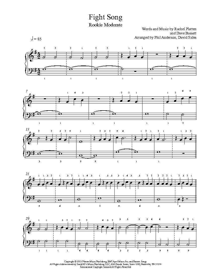 Fight Song By Rachel Platten Piano Sheet Music Rookie Level