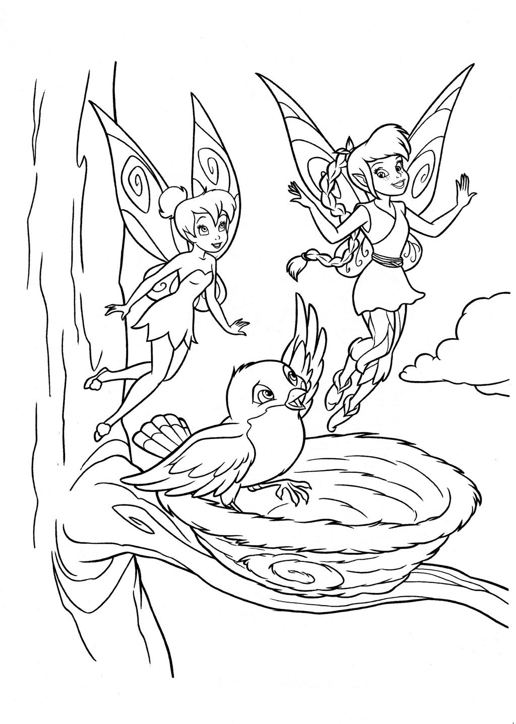fairy fawn and tinkerbell coloring page | kids: coloring book