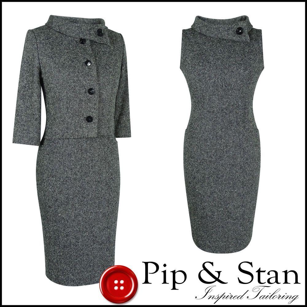 05035ac51b0d HOBBS SHIFT DRESS SUIT SIZE UK12 US8 GREY WOOL TWEED WOMENS 1960S INSPIRED