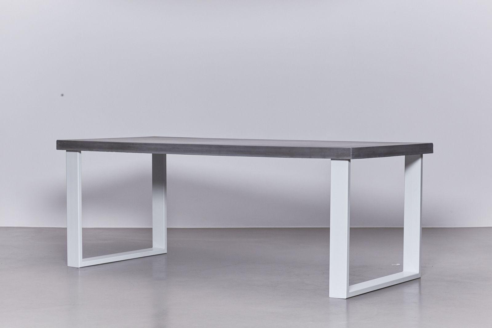 Onderstel Tafel Staal : Betonnen tafel antraciet u onderstel staal wit u de betonfabriek