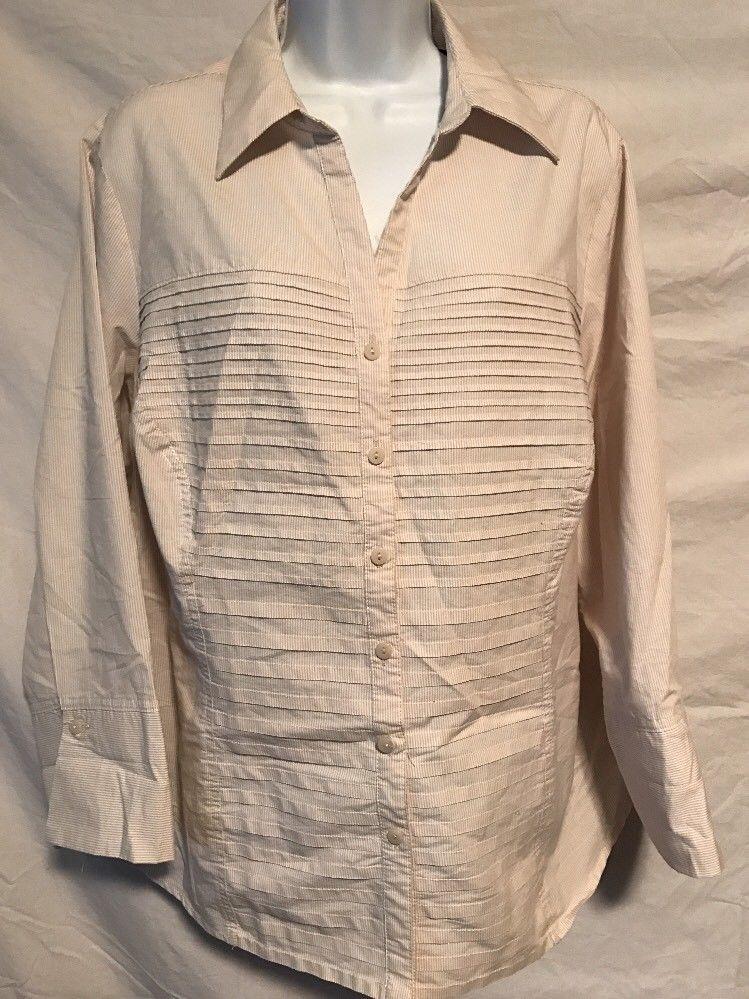 2910c5bb1dbee1 Zac & Rachel Woman 2X Tan White Pin Stripe Button Down Shirt Pleated Front  | eBay
